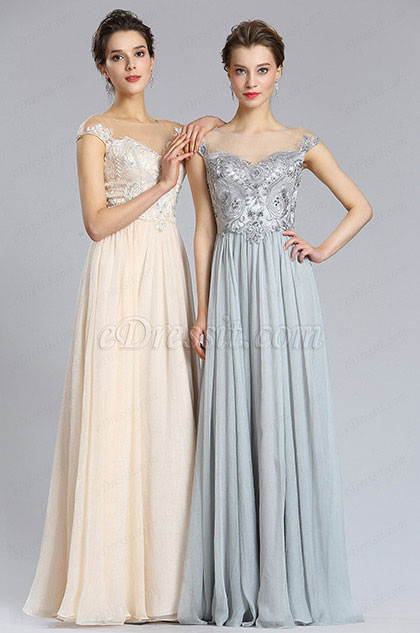 eDressit Elegant A Line Cap sleeve Grey Prom Evening Dress (00182908)