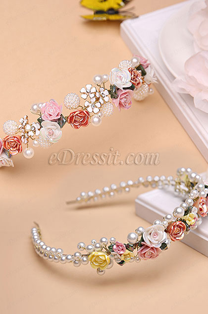 eDressit Floral Beads Little Girl Headwear Hair Hoop (13191739)