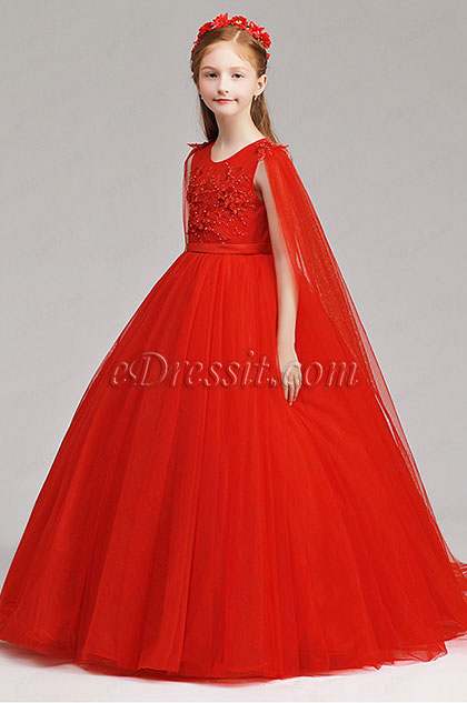 Red Long Children Wedding Flower Girl Dress