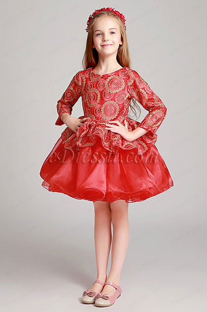 Cute Red 3/4 Sleeves Wedding Flower Girl Party Dress