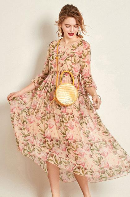 Round Neck Silk Printed Dress Summer Dress