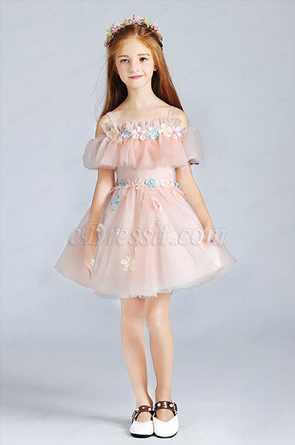 Pink Lovely Princess Wedding Flower Girl Dress