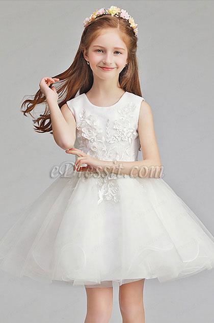 White Tulle Short Sleeves Wedding Flower Girl Party Dress