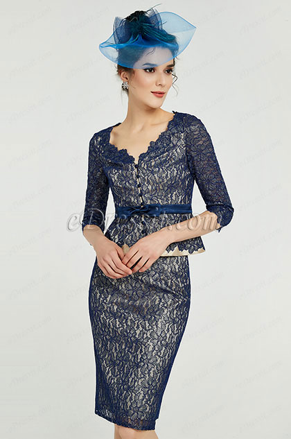 eDressit Blue Floral Lace Mother of the Bride Party Dress (26191705)
