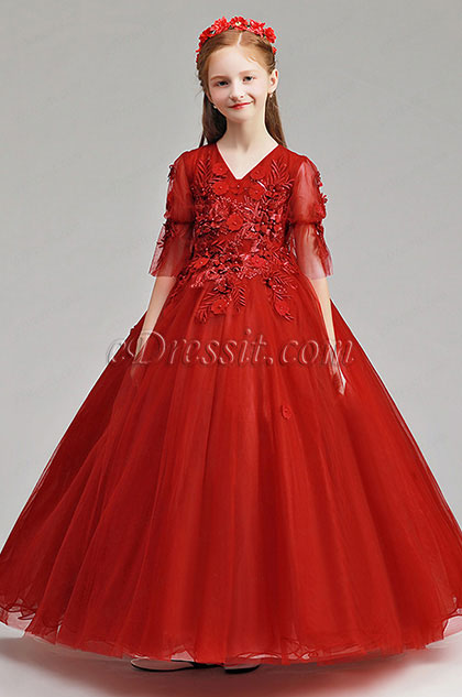 Red Long Floral Flower Girl Stage Dress