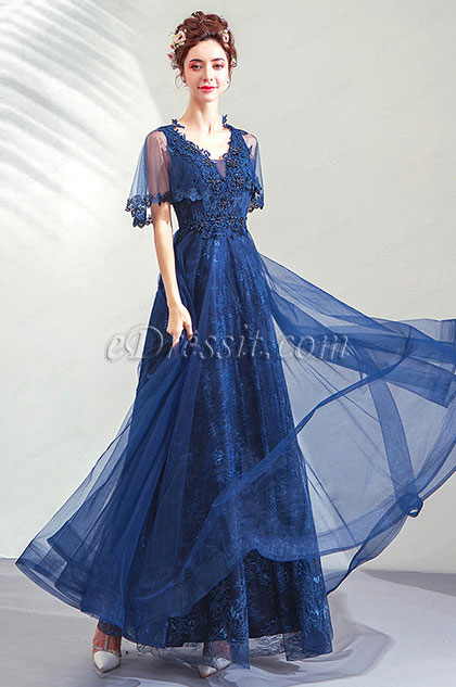 eDressit Sexy Blue Cape Party Evening Dress Prom Gown (36203405)