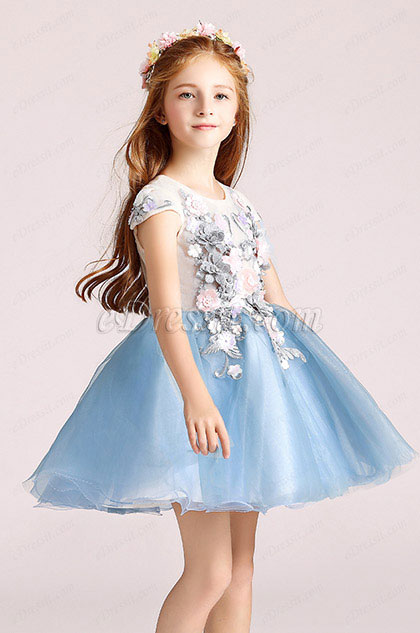 Short Sleeves Cute Wedding Flower Girl Party Dress