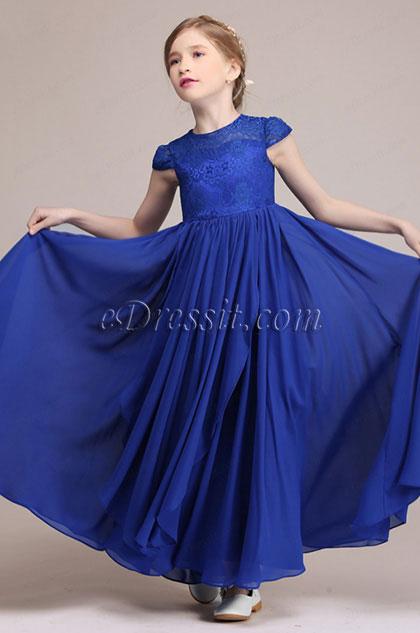 eDressit Robe de Filles Longue à Manches Courtes Bleu (27194305)