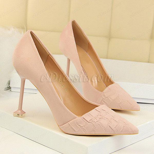 Women's Velvet Pattern High Heel Closed Toe Pumps Shoes (0919009)