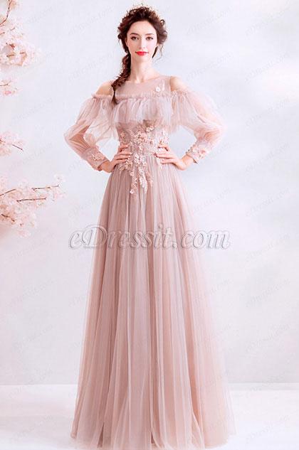 eDressit OFF Shoulder Unique Sleeves Ruflle Long Women Dress (36197146)