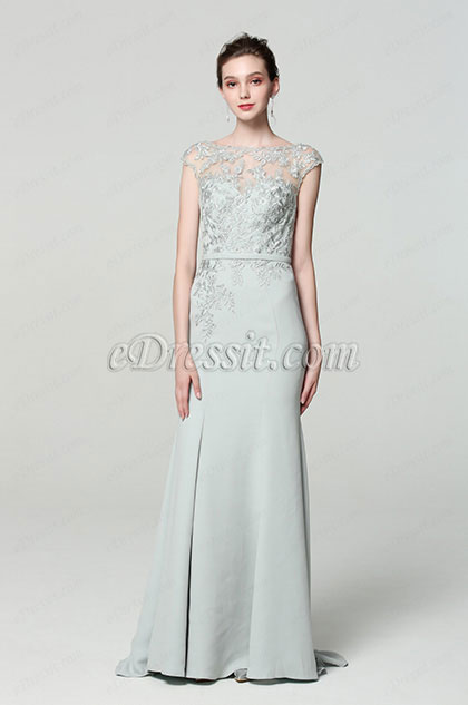 Grey Cap sleeves Embroidery Prom Party Dress