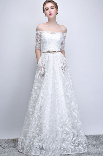 eDressit Sexy White Off Shoulder Sleeves Wedding / Party Dress (36215607)