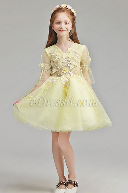 eDressit Handmande Yellow Children Wedding Flower Girl Dress (28195703)
