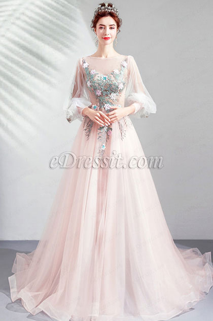 eDressit Sexy Sleeves Fairy Long Tulle Party Wedding Dress(36209301)