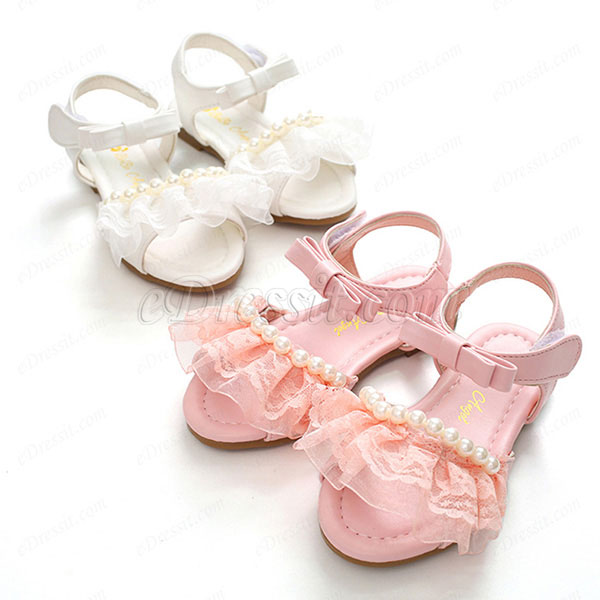 eDressit Girl's Open Toe Leather Flat Flower Sandals Shoes (250015)