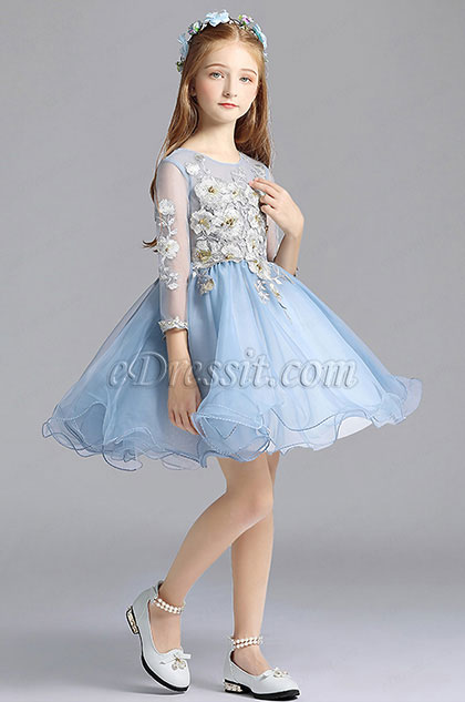 Blue Long Sleeves Cute Wedding Flower Girl Party Dress