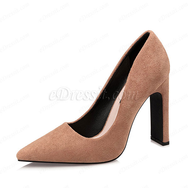 Women's Suede High Chunky Heel Closed Toe Pumps Shoes (0919011)