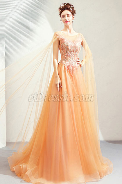 Orange Elegant Long Tulle Bride Wedding Dress