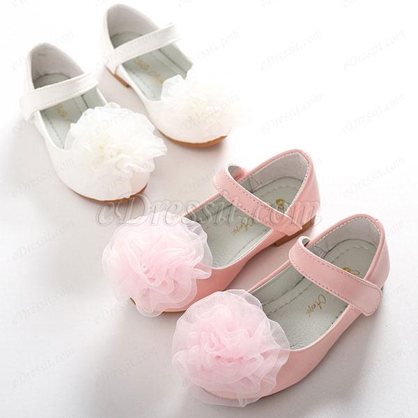eDressit NEW Children Girl Closed Toe Leather Flower Shoes (250025)