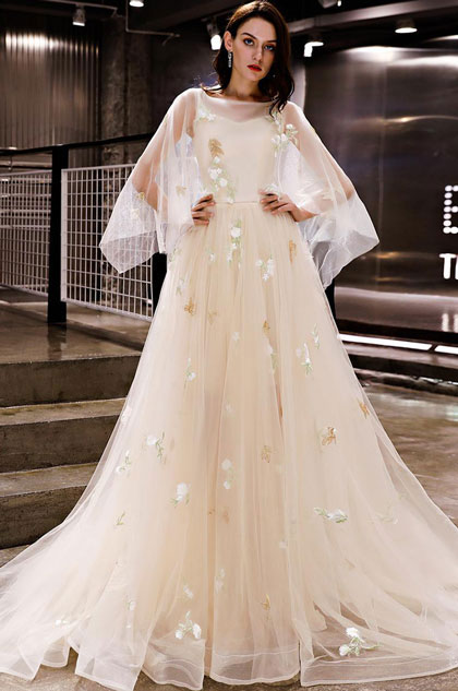 eDressit Beige Unique Sleeves Floral Tulle Party  Evening Dress (36219607)