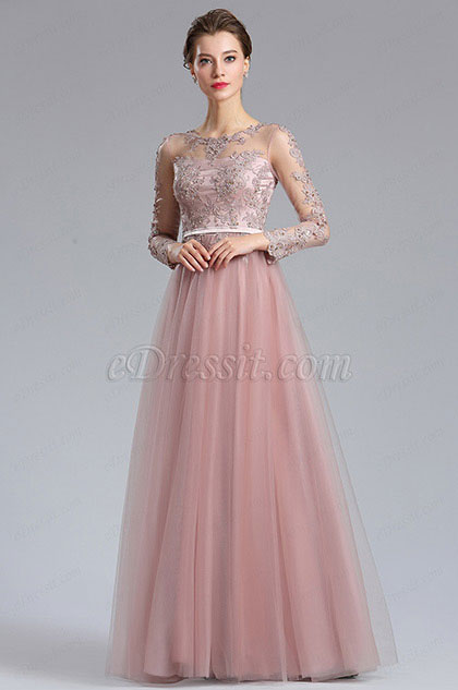eDressit Elegant Blush Lace Appliques Evening Dress (02182746)