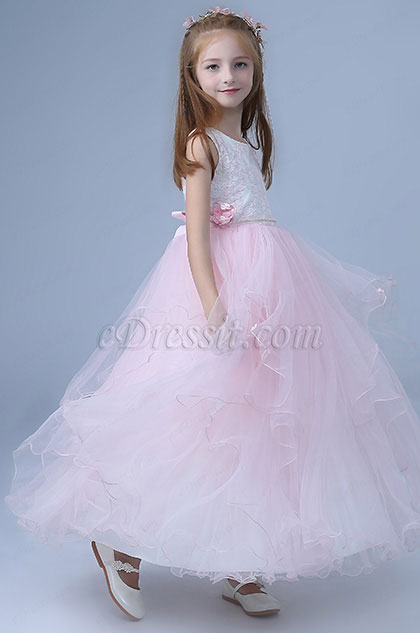 Pink Sleeveless Children Wedding Flower Girl Dress
