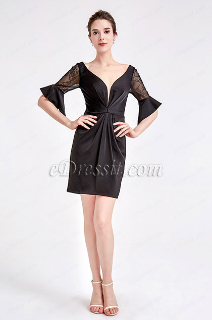 eDressit Black V-Cut Bell Sleeve Party Cocktail Dress (03190100)