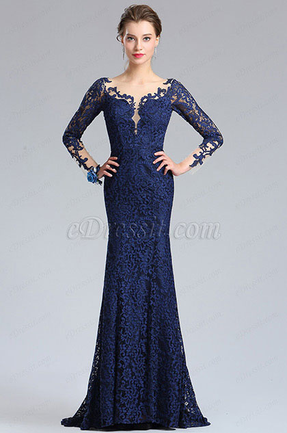 eDressit V-Cut Bodice Sexy Navy Blue Lace Dress Ball Gown (26181605)