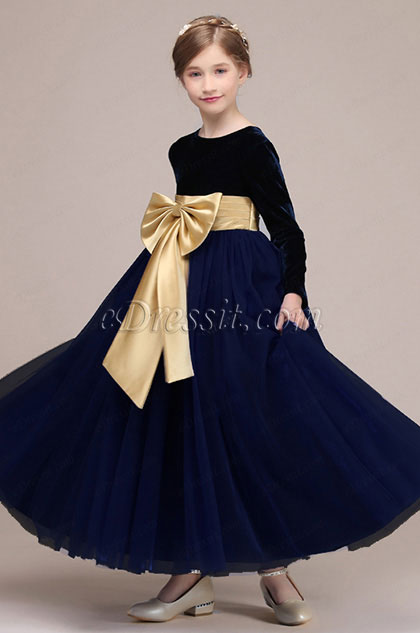 eDressit Bowknot Long Velvet Wedding Flower Girl Dress (27192805)