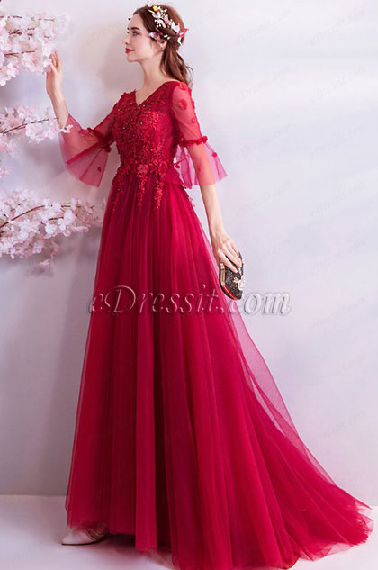 eDressit Red V-Cut Sleeves Elegant Women Wedding Party Dress (36194302)