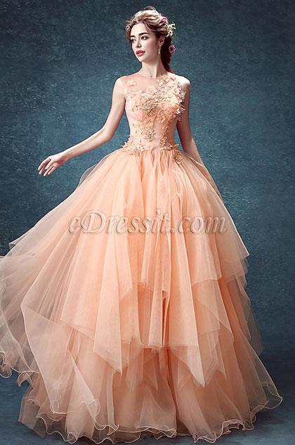 Sexy Orange Strapless Embroidery Ruffle Prom Dress