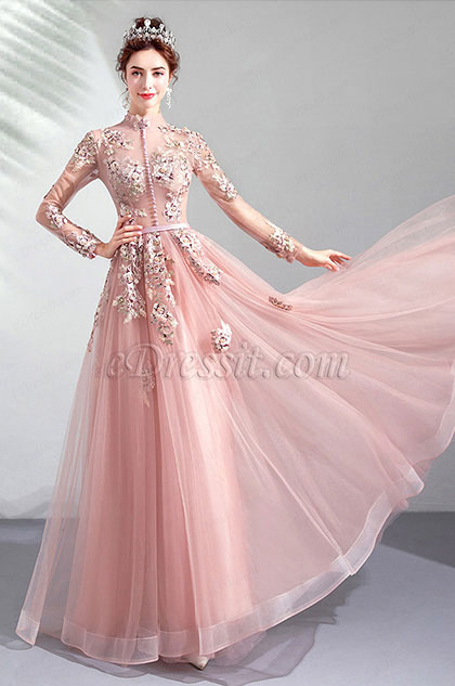 High Neck Long Sleeves Embroidery Party Prom Dress