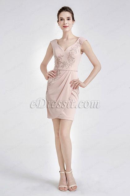 eDressit Pink Cute Embroidery Short Cocktak Dress (04190201)