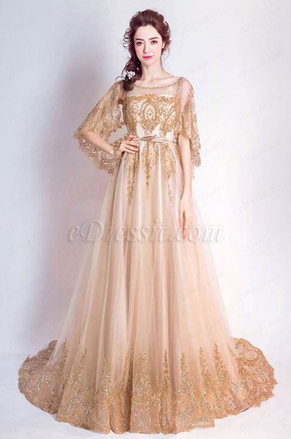 Noble Gold Cape Top Long Train Party Prom Dress