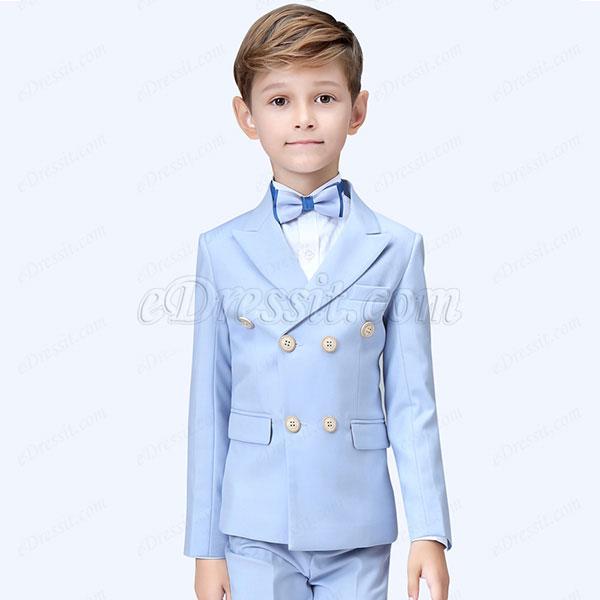 eDressit Light Blue Boys Suit Double-breasted Tuxedo (16190332)