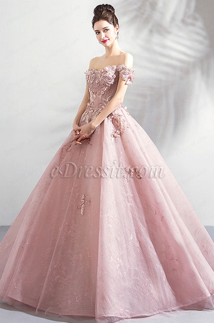 eDressit Off Shoulder Embroidery Puffy Prom Ball Gown (36193546)