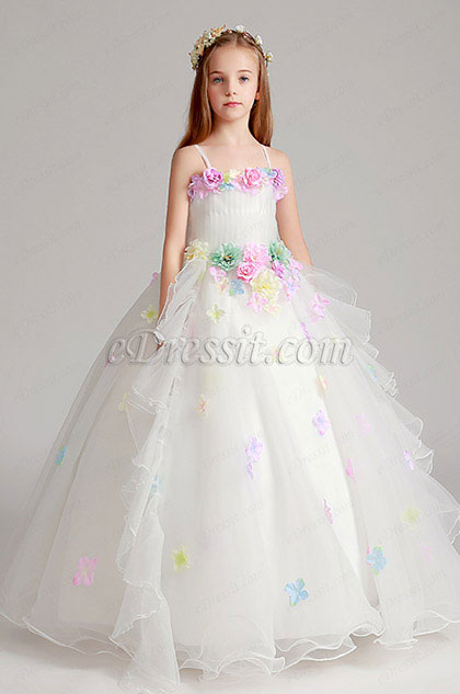 Spaghetti Handmade Wedding Flower Girl Party Dress