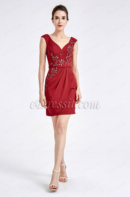 eDressit Burgundy Embroidery Short Cocktail Dress (04190217)