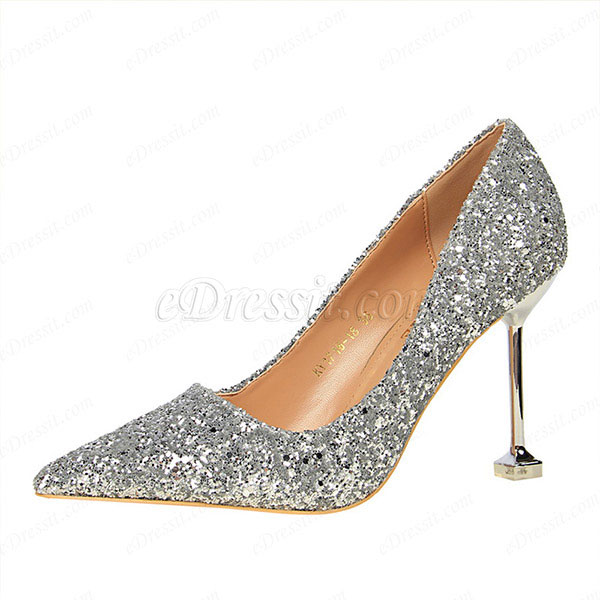 Women's Glitter Kitten High Heel Closed Toe Pumps Shoes (0919004)