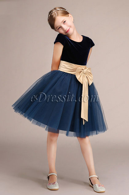 eDressit Short Sleeves Velvet Princess Flower Girl Dress (28191705)