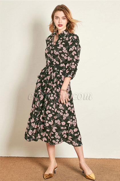 eDressit Silk Fashion Shirt Dress Printed Dress Wear to Work (30193168)