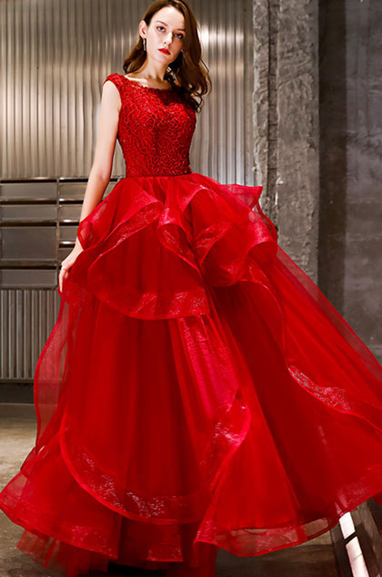 eDressit Red Lace Applique Layer Tulle Women Wedding Dress (36220502)