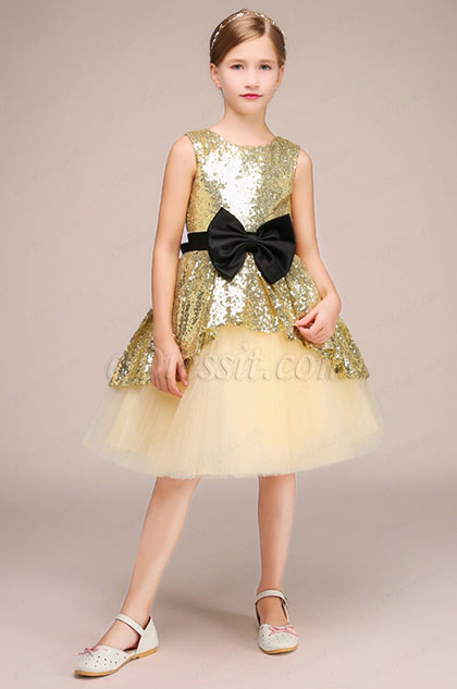 Lovely Sequin Sleeveless Wedding Flower Girl Dress