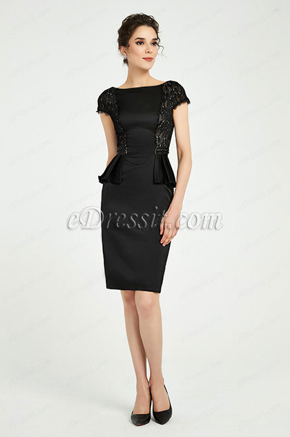 eDressit Black Cap Sleeves Party Mother of the Bride Dress (26191400)