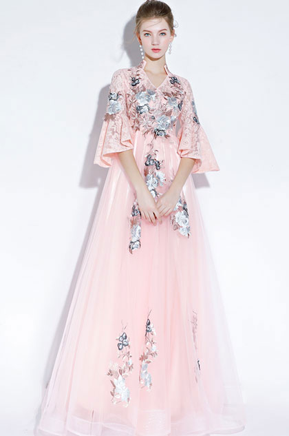 eDressit Pink High Neck Embroidery Evening Dress Formal Wear (36217501)