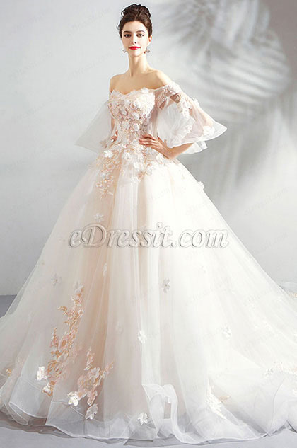 Sexy Off-Shoulder Fairy Long Train Wedding Dress