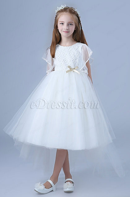 White Tulle Short Sleeves Wedding Flower Girl Party Dress