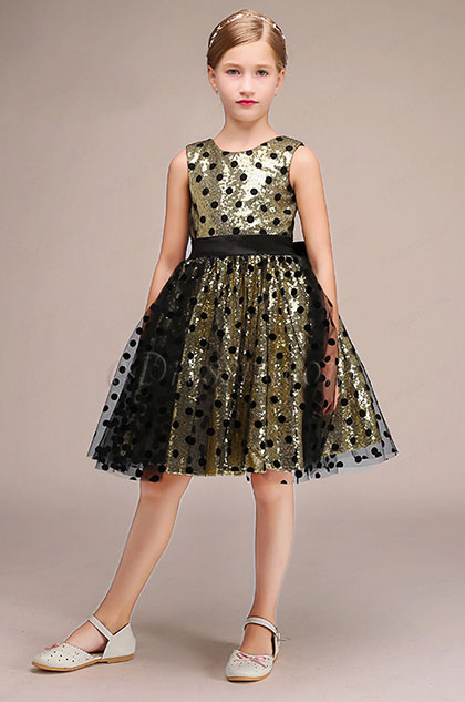 eDressit Gold Round Neck Short Flower Girl Dress With Spots (28193024)