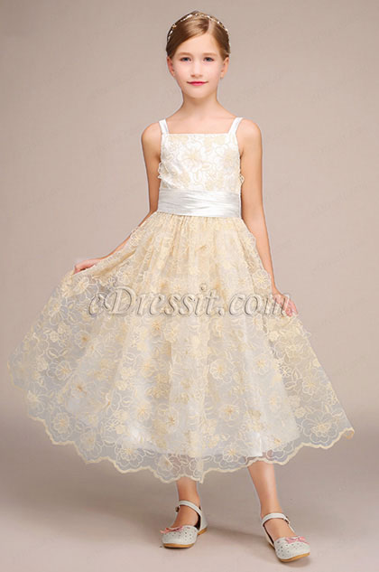 eDressit Beige Bowknot Children Wedding Flower Girl Dress (27192014)