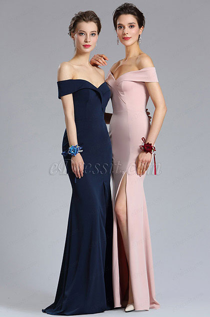 eDressit New Navy Blue Off Shoulder Slit Prom Evening Dress (02182805)